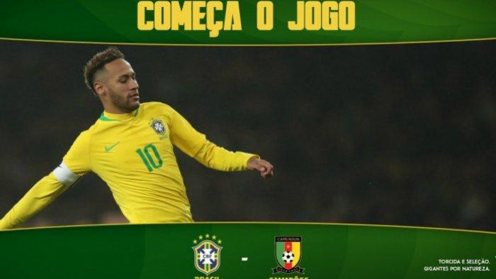 Babak Pertama, Timnas Brasil Unggul 1-0 atas Kamerun dan Neymar Pun Keluar di Laga Persahabatan