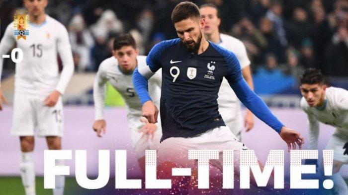 Hasil Akhir yang Sama dengan Brasil, Timnas Prancis Hanya Menang 1 Gol Kontra Uruguay