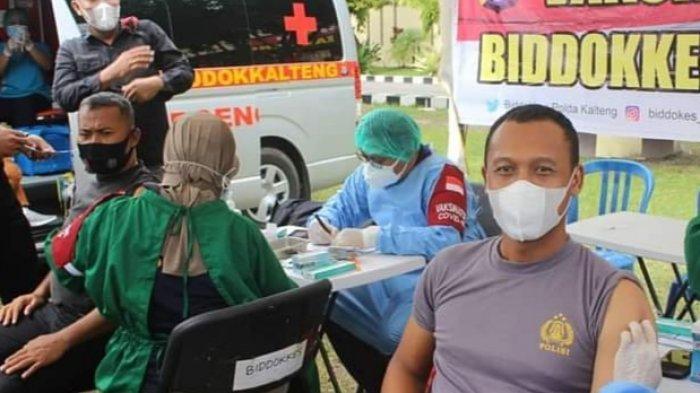 Jelang Tugas Pengamanan Kegiatan Wapres RI di Muara Teweh Kalteng, 124 Personel Divaksin Covid-19
