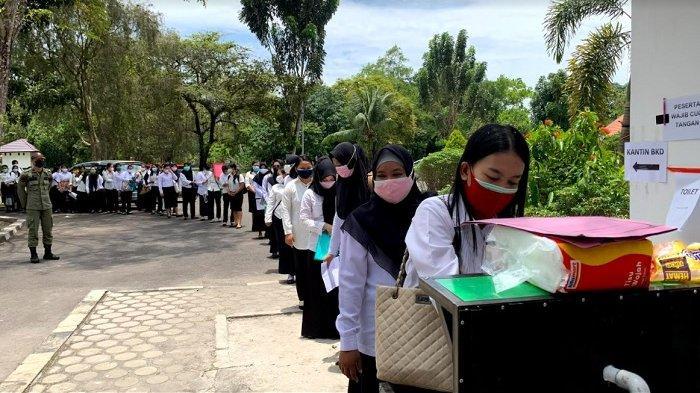 Peserta Test CPNS dan PPPK 2021 Pemprov Kalteng, Wajib Pakai Masker Tiga Lapis