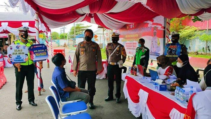 150 Pengendara Tertib Berlalulintas di Sampit Jadi Target Vaksinasi Massal Polres Kotim