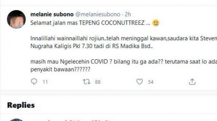 Unggahan artis Melanie Subono atas meninggalnya Steven Jam, vokalis band Steven & Coconut Treez