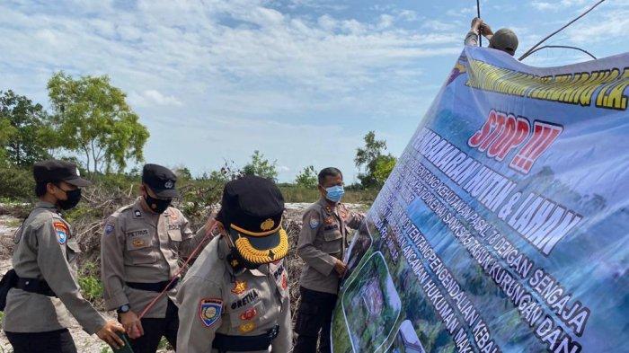 Karhutla di Palangkaraya, Polda Kalteng Pasangi Spanduk Imbauan di Lahan Bekas Tebasan Warga