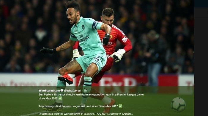 Aubameyang Bawa Arsenal ke 4 Besar Klasemen Liga Inggris Usai Kalahkan Watford
