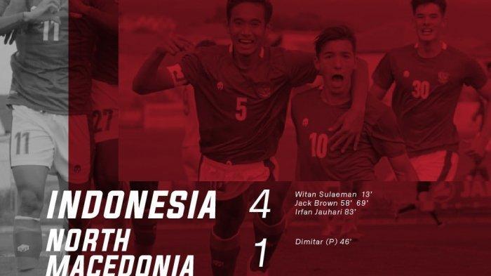 Dua Gol Jack Brown Bawa Timnas U-19 Indonesia Menang Telak 4-1 dari Makedonia Utara