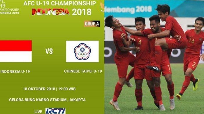LIVE STREAMING Timnas U-19 Indonesia vs Taiwan Piala AFC U-19 2018 - Link Live Streaming RCTI