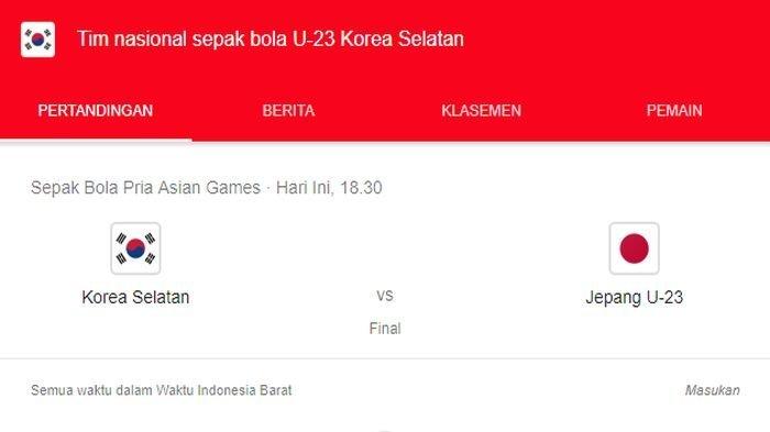 Final Timnas U-23 Jepang vs Korea Selatan Asian Games 2018, Siaran Langsung Tonton di Sini
