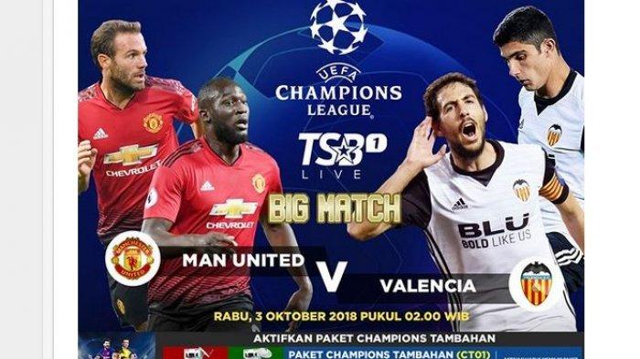 Live Streaming RCTI: Liga Champions Manchester United vs Valencia