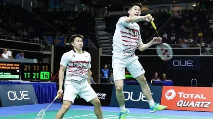 Tumbangkan Pasangan Thailand dalam 23 Menit, Kevin/Marcus Lolos ke Perempat Final China Open 2018