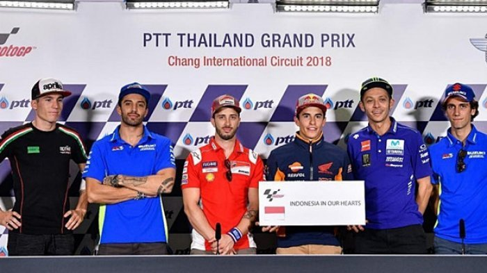 Jelang MotoGP Thailand 2018, Pebalap MotoGP Prihatin Korban Gempa, ''Indonesia in Our Hearts''