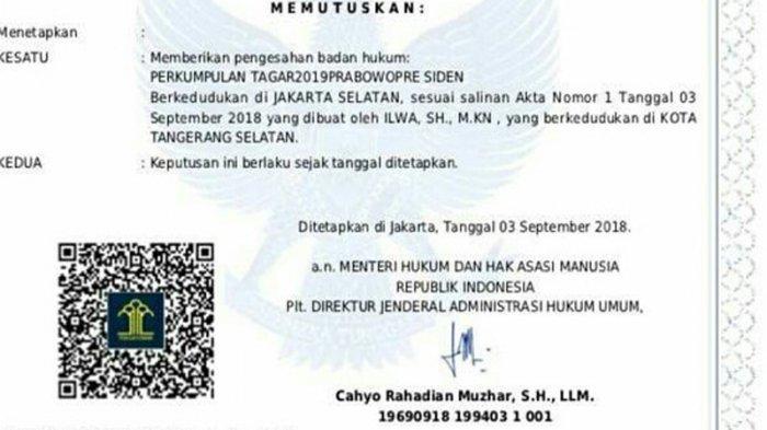 Viral Foto SK Menkumham Sahkan Pendirian Badan Hukum TAGAR2019PRABOWOPRE SIDEN