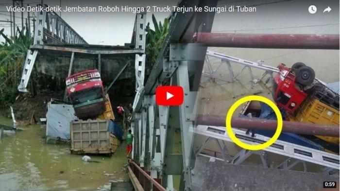 VIDEO: Detik-detik 3 Truk Terjun ke Sungai Saat Jembatan Roboh