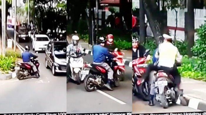 VIDEO: Pengendara Ini Nekad Melawan Arah karena Takut Razia, Lihat Aksinya!