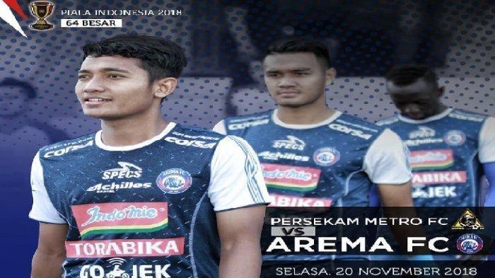 Persekam Metro FC vs Arema FC Babak 64 Besar Piala Indonesia, Ini Link Live Streaming Jawapos TV