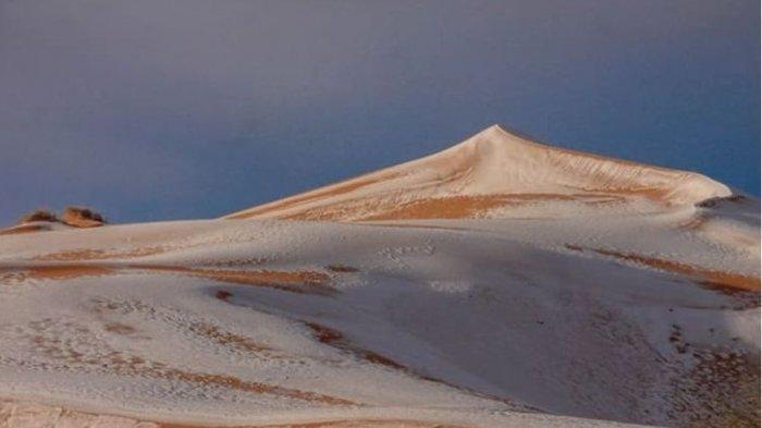 Langka! Biasanya Sangat Panas, Gurun Sahara Ditutupi Salju Jadi Fenomena Unik Tak Biasa