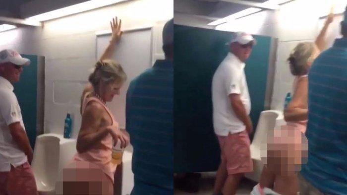 Wanita yang Mabuk Berat Ini Kencing di Toilet Pria, Lihat Reaksi Lelaki di Sampingnya