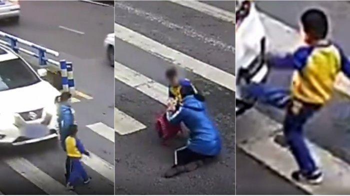 Ibunya Ditabrak, Reaksi Bocah Pemberani Tak Terduga, Videonya Viral