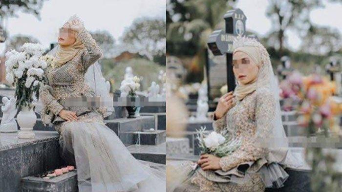 Fakta Foto Wanita Bergaun Pengantin di Atas Makam, Tuai Hujatan di Medsos