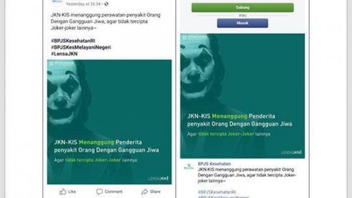 Somasi 'Joker Sakit Jiwa' di Facebook BPJS Kesehatan, ''Sudah Dihapus, Benar!''