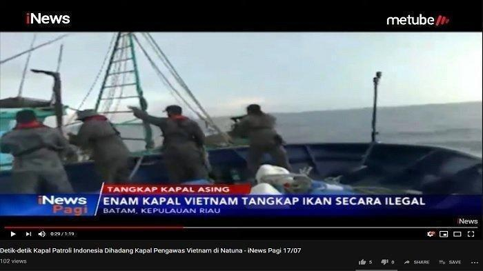 VIDEO: Kapal Patroli Indonesia Diadang Kapal Vietnam, Petugas Beri Tembakan Peringatan