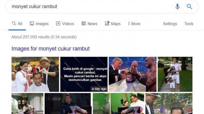 Ketik ''Monyet Cukur Rambut'' di Google Muncul Gambar Jokowi, Ternyata Begini Penjelasannya
