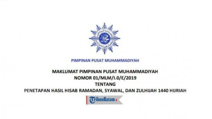 Penetapan 1 Ramadan 1440 H, PP Muhammadiyah: Awal Puasa Senin 6 Mei 2019, Idul Fitri 5 Juni 2019