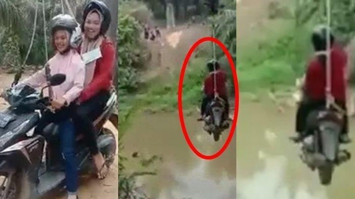 Viral Video 2 Remaja Naik Motor Seberangi Sungai Bergelantung pada Seutas Tali, Menantang Maut!