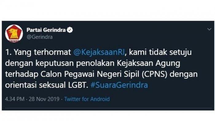 Heboh Partai Gerindra Tolak Aturan CPNS Kejagung soal LGBT, Andre Rosiade Bilang Begini