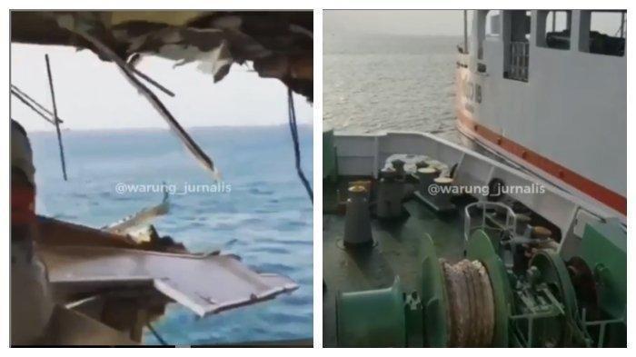 Terdengar Teriakan Takbir dan Dentuman Keras, Viral Video Tabrakan Dua Kapal Besar di Selat Sunda