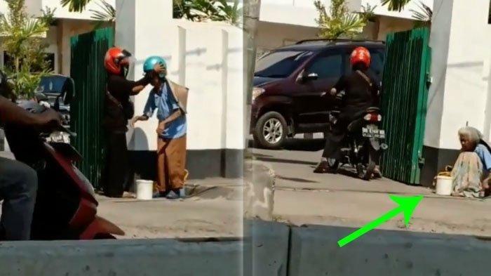 Dibekali Caping, Wanita Tua Renta Ini Dipaksa Ngemis di Depan Masjid, Terlalu!