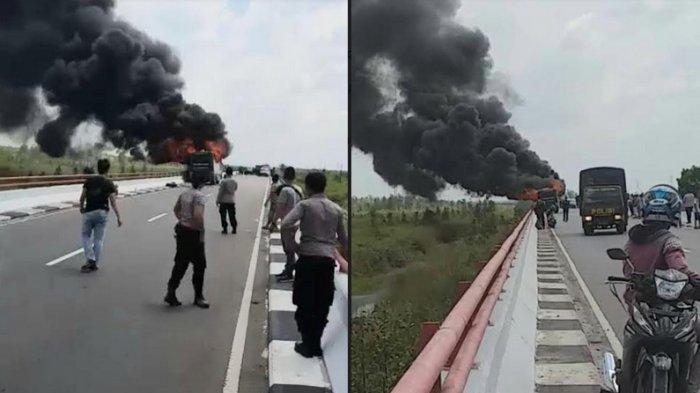 Viral di Medsos! Heboh Bus Terbakar di Jembatan Tumbang Nusa Pulang Pisau Kalteng, Penumpang Selamat