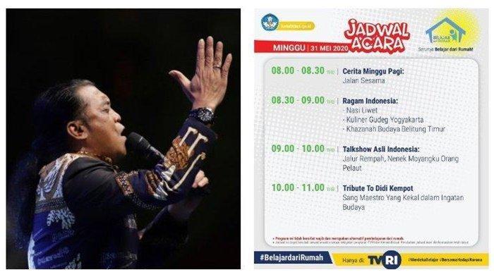 Ada Tribute to Didi Kempot, Jadwal Belajar dari Rumah TVRI, Minggu 31 Mei 2020, Ragam Indonesia