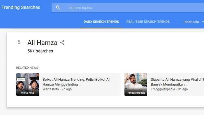 Ali Hamza masuk trending daftar pencarian di Google Trends.