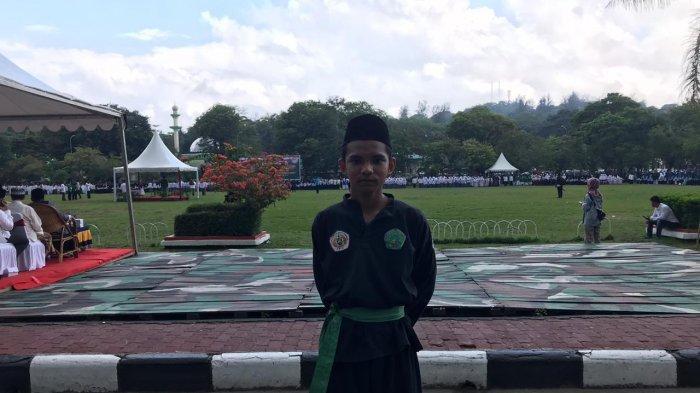 Pagar Nusa Turunkan Murid Berjaga-jaga di Acara Peringatan Hari Santri Nasional di Lapangan Merdeka