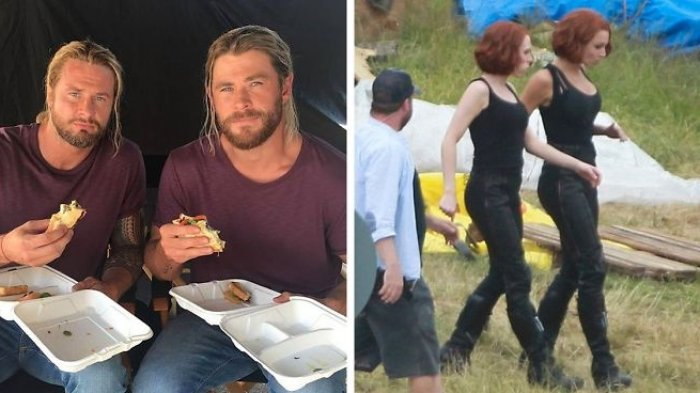 Sekilas Dilihat Mirip Banget, Ini Foto Aktor Film The Avengers Pose Bareng Pemeran Pengganti Mereka
