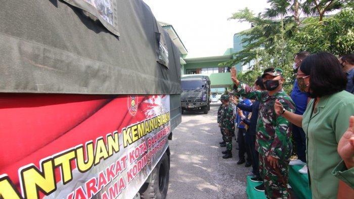 Komando Distrik Militer (Kodim) 0905 Balikpapan salurkan bantuan bagi korban terdampak bencana banjir di Kalimantan Selatan, Sabtu (30/1/2021) pagi.