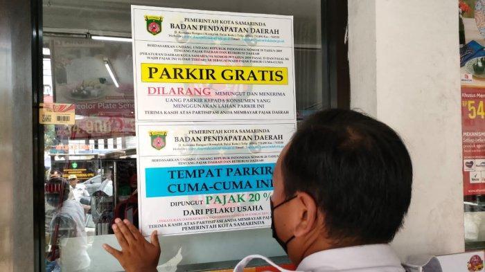 Stiker Parkir Gratis dari Pemkot Samarinda, Pajak Parkir Pengunjung Ditanggung Pemilik Usaha