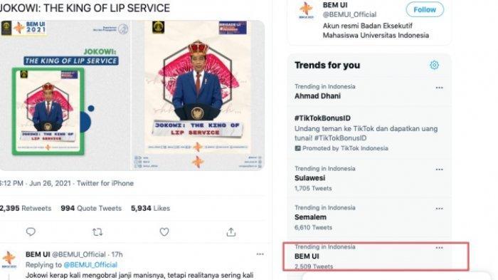 BEM UI jadi trending topic Twitter hari ini, Minggu 27 Juni 2021
