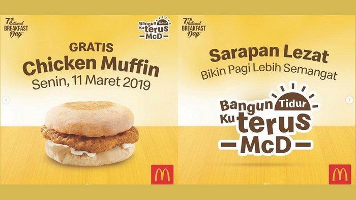 Besok National Breakfast Day, McDonald's Bagi-bagi 1000 Chicken Muffin Gratis, Catat Jadwalnya!