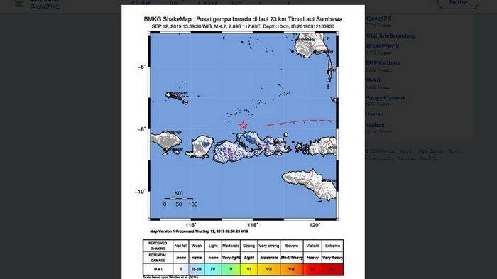 Gempa Hari Ini 12 September 2019 Baru Saja Guncang Sumbawa, Terasa II MMI dan Waspadai Susulan!