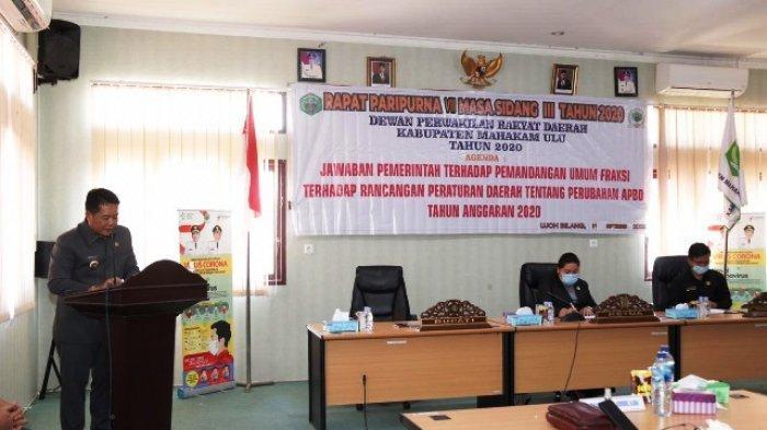 Bupati Mahulu Jawab Pandangan Umum Fraksi Terkait Nota Pengantar Raperda Perubahan APBD 2020