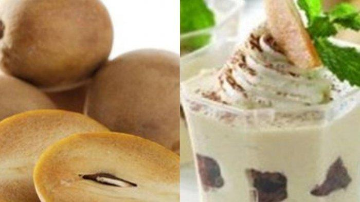 Buah sawo (kiri) olahan buah sawo (kanan)