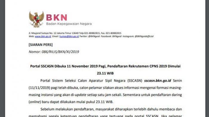 Bukan Jam 11.11 Pagi, Ternyata Ini Waktu Pendaftaran CPNS 2019 sscasn.bkn.go.id, Kemenag dan lainnya
