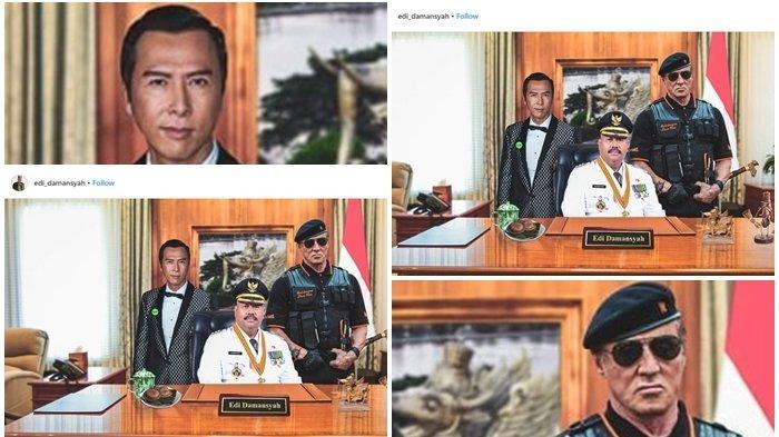 Foto Instagram Bupati Kukar, Diapit Sylvester Stallone dan Donnie Yen, Warganet Fokus Mandau Rambo