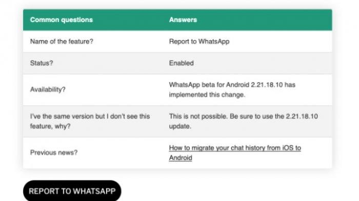 Cara laporkan pesan WhatsApp