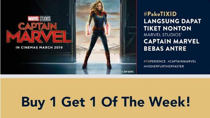 Catat Promo Tiket Nonton Film Captain Marvel! Beli 1 Gratis 1 hingga Diskon 50% di TIX ID