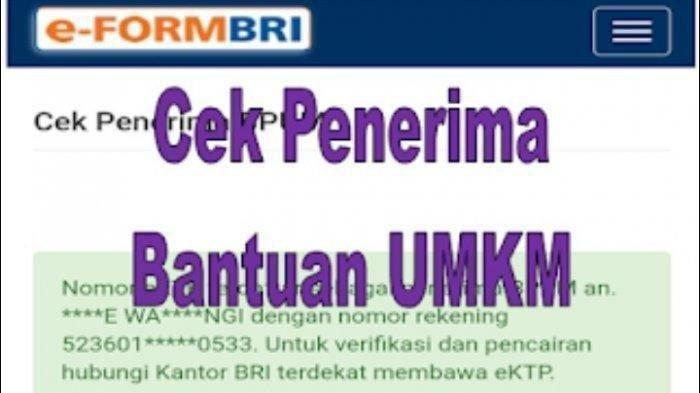 Ini Daftar Nama Penerima BLT UMKM 2021 Senilai Rp 1,2 Juta Tahap 3, Cek Login eform.bri.co.id/bpum