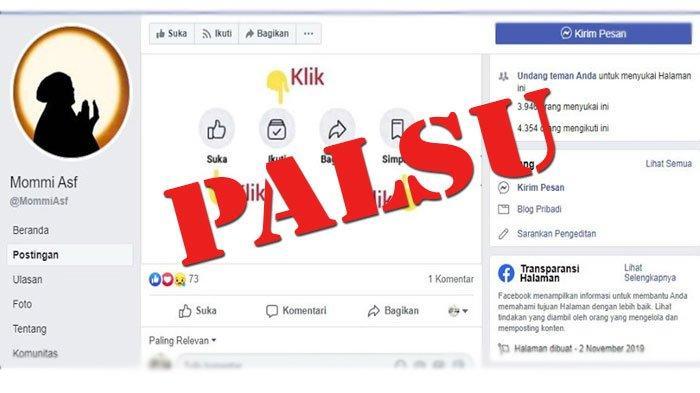 Cerita Layangan Putus Viral, Facebook Mommi Asf Dipalsukan Ada Fanpage Diikuti Ribuan Pengguna