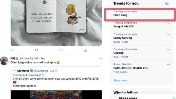 Chen Long jadi trending topic Twitter setelah laga pertamanya di Olimpiade Tokyo hari ini, Minggu 25 Juli 2021.