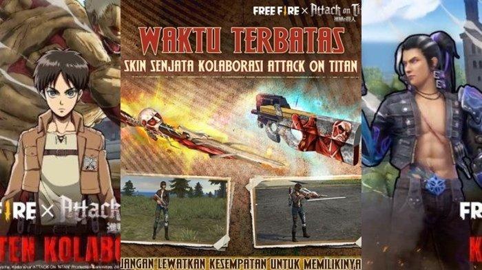 UPDATE Kode Redeem FF 4 April 2021, Waktu Terbatas, Spin dan Dapatkan Skin Senjata Attack On Titan